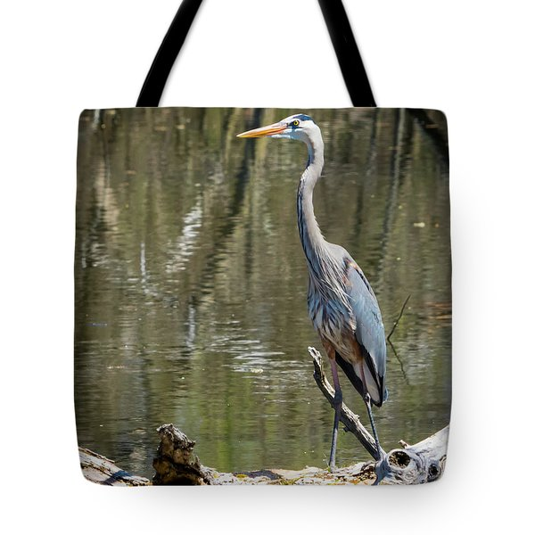 Tote Bag featuring the photograph Great Blue Heron At Johnson Park by Ricky L Jones