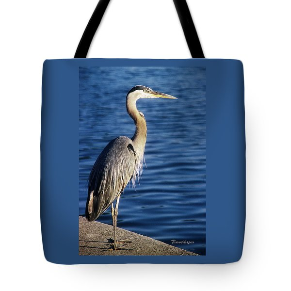 Tote Bag featuring the photograph Great Blue Heron At Put-in-bay by Terri Harper