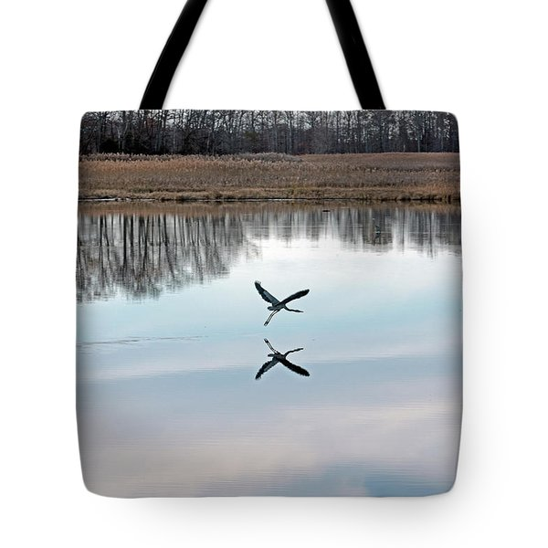 Great Blue Heron At Take-off Tote Bag by Jennifer Nelson