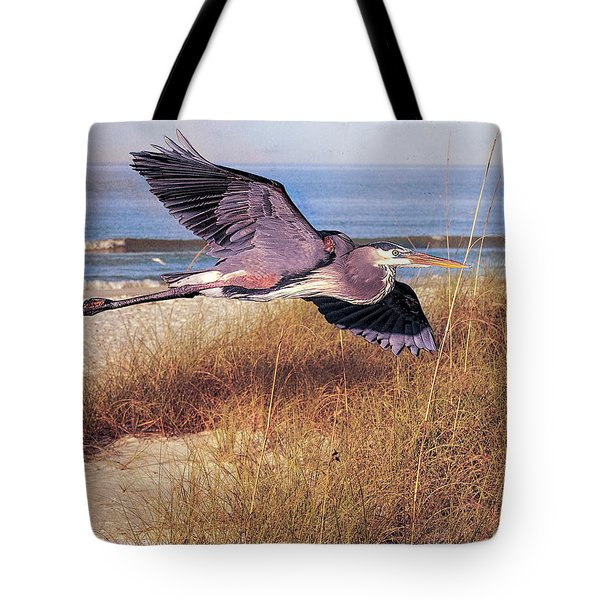 Great Blue Heron At The Beach Tote Bag