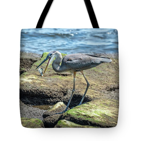Great Blue Heron Catching A Blue Crab On Chesapeake Bay Tote Bag