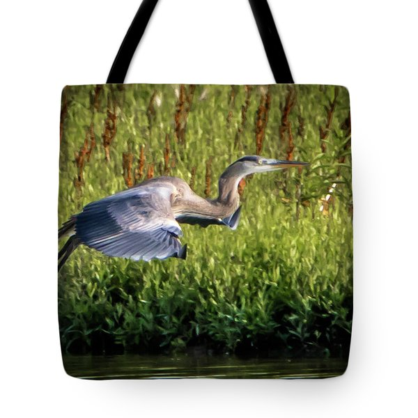 Great Blue Heron Tote Bag by Cathy Cooley