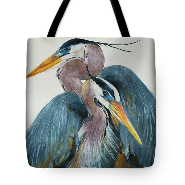 Great Blue Heron Couple Tote Bag