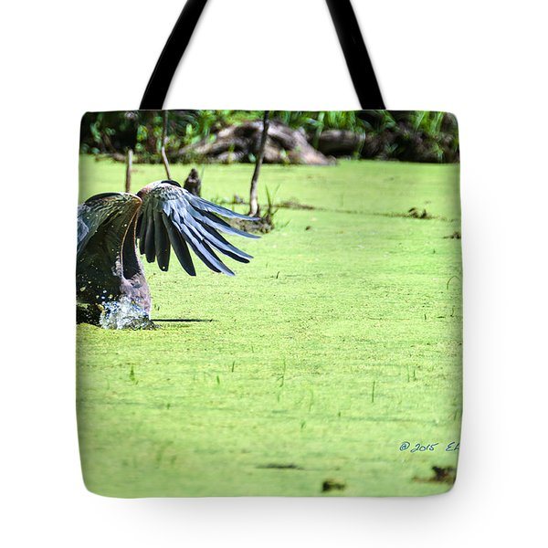 Tote Bag featuring the photograph Great Blue Heron Dunk by Edward Peterson