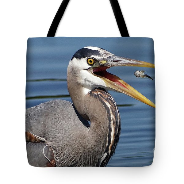 Great Blue Heron Feast Tote Bag