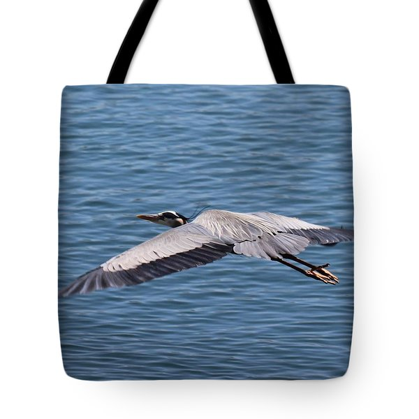Great Blue Heron Flying Over Morro Bay Tote Bag