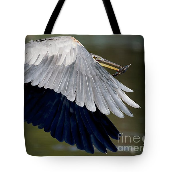 Great Blue Heron Flying With Fish Tote Bag