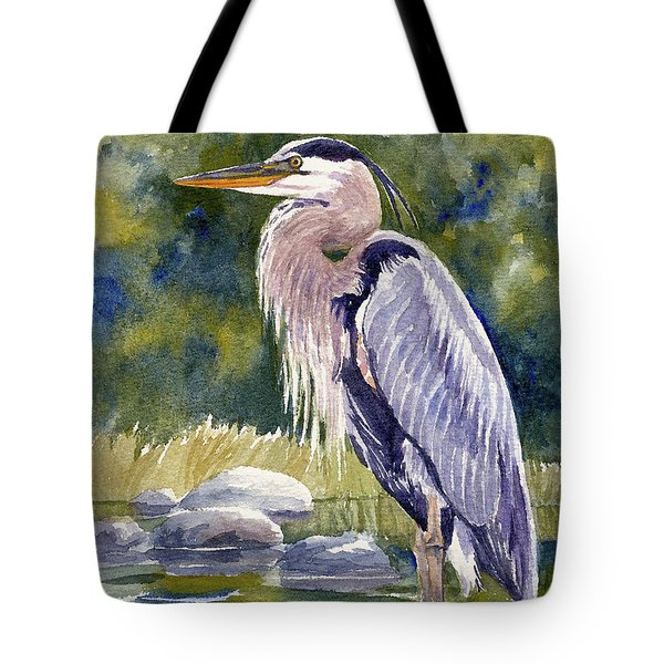 Great Blue Heron In A Stream Tote Bag