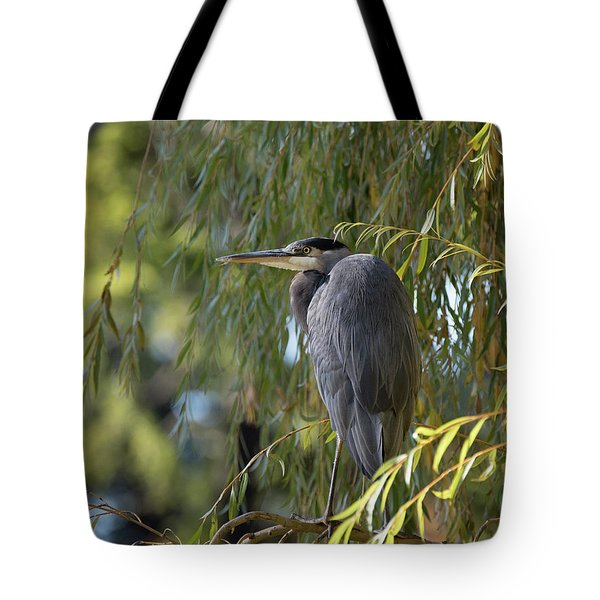 Great Blue Heron In A Willow Tree Tote Bag