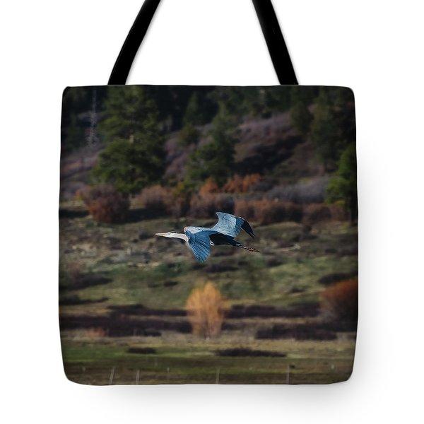 Great Blue Heron In Flight II Tote Bag