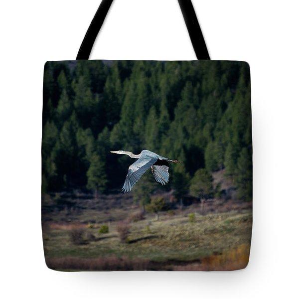 Great Blue Heron In Flight Tote Bag