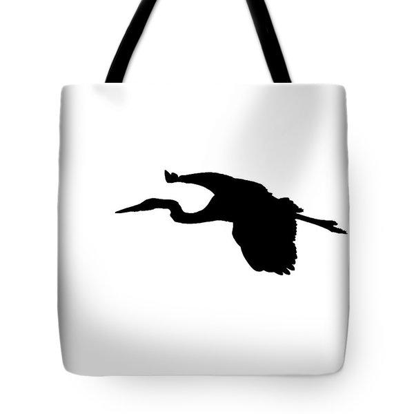 Great Blue Heron In Flight Silhouette Tote Bag