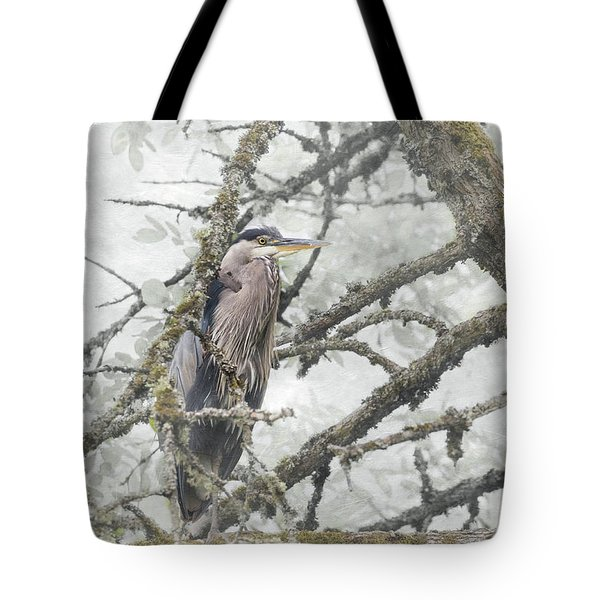 Tote Bag featuring the photograph Great Blue Heron In Tree by Angie Vogel