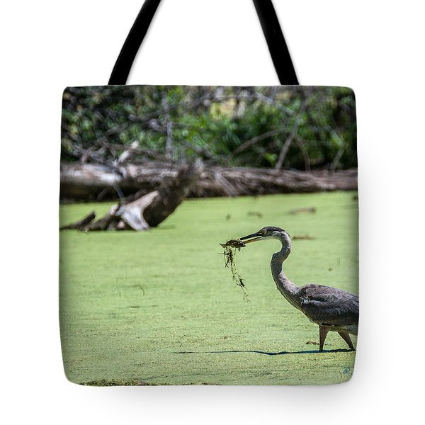 Tote Bag featuring the photograph Great Blue Heron Main Meal by Edward Peterson