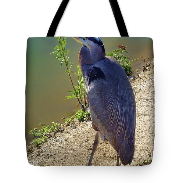 Tote Bag featuring the photograph Great Blue Heron by Mariola Bitner