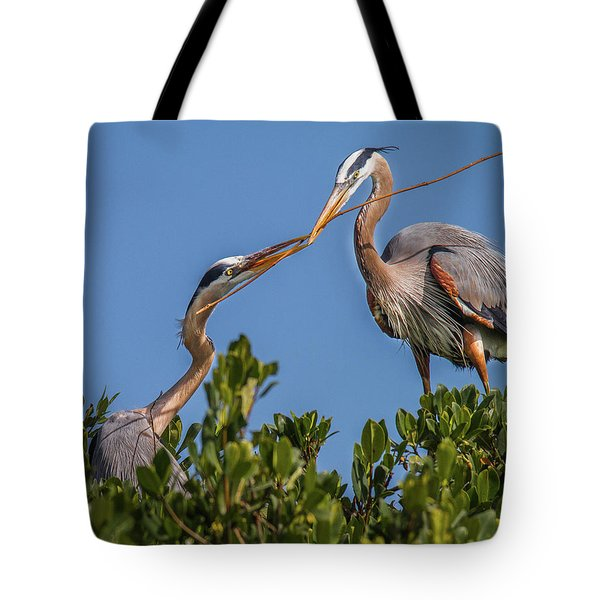 Great Blue Heron Nest Building Tote Bag