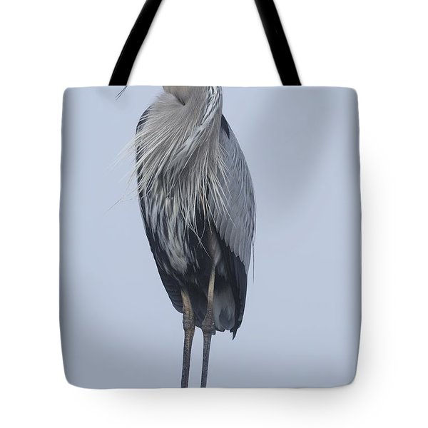 Tote Bag featuring the photograph Great Blue Heron On A Boardwalk Rail by Bradford Martin