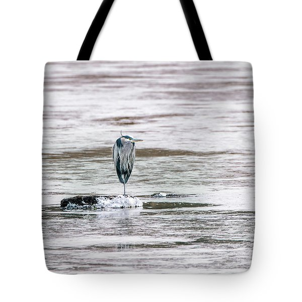 Great Blue Heron On A Frozen Lake Tote Bag