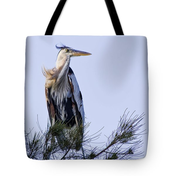 Great Blue Heron On A Windy Day Tote Bag by Roger Wedegis