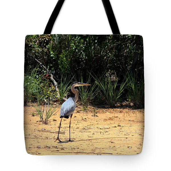 Tote Bag featuring the photograph Great Blue Heron On Beach by Sheila Brown