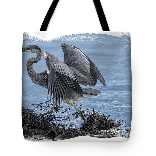 Tote Bag featuring the photograph Great Blue Heron On Cape Cod Canal 1 by Constantine Gregory