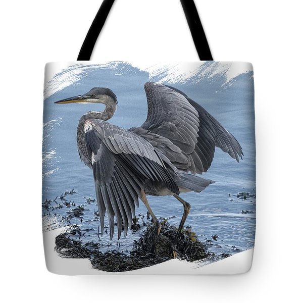 Tote Bag featuring the photograph Great Blue Heron On Cape Cod Canal 2 by Constantine Gregory