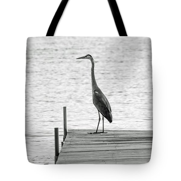 Great Blue Heron On Dock - Keuka Lake - Bw Tote Bag by Photographic Arts And Design Studio