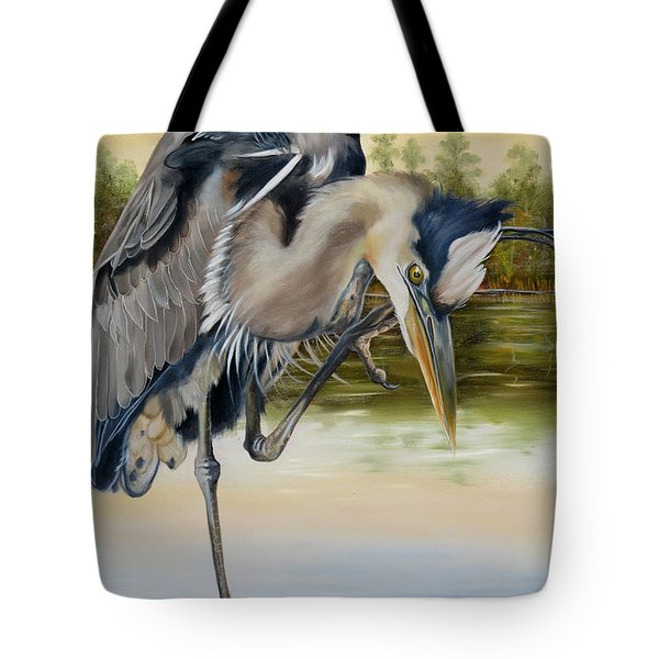 Tote Bag featuring the painting Great Blue Heron On The Jordan River by Phyllis Beiser