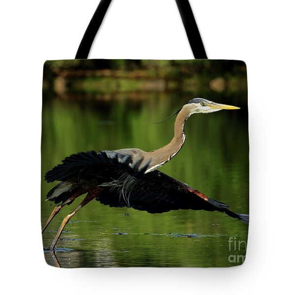 Great Blue Heron - Over Green Waters Tote Bag