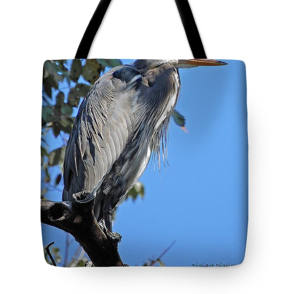 Great Blue Heron Perched Tote Bag by DigiArt Diaries by Vicky B Fuller