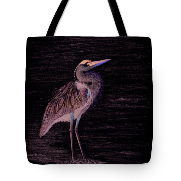 Tote Bag featuring the drawing Great Blue Heron by Phyllis Howard