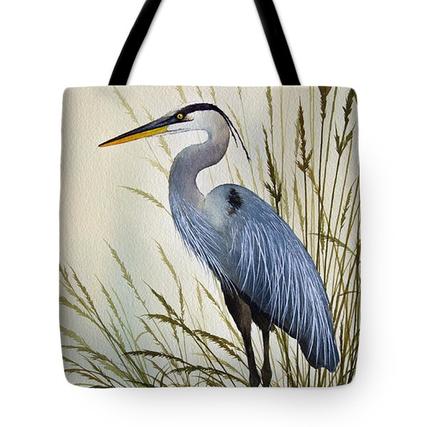 Great Blue Heron Shore Tote Bag by James Williamson