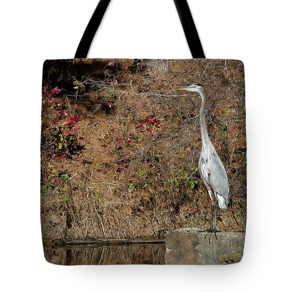 Great Blue Heron Standing Tall Tote Bag by George Randy Bass