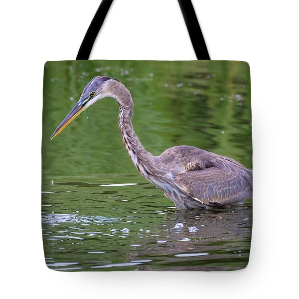 Tote Bag featuring the photograph Great Blue Heron - The One That Got Away by Ricky L Jones