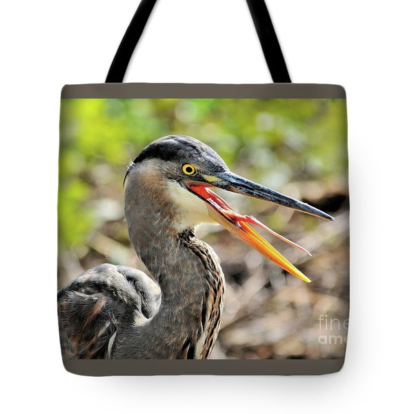 Great Blue Heron Tongue Tote Bag