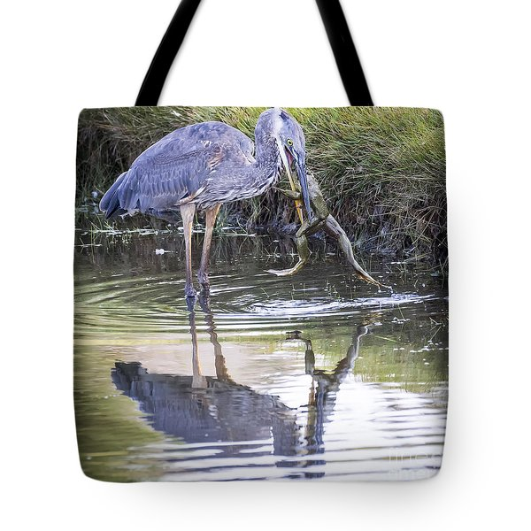 Great Blue Heron Vs Huge Frog Tote Bag