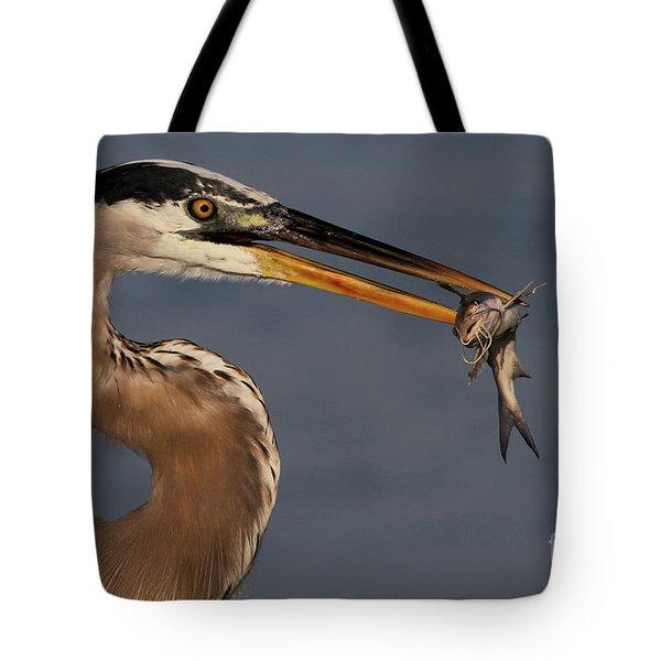 Great Blue Heron W/catfish Tote Bag
