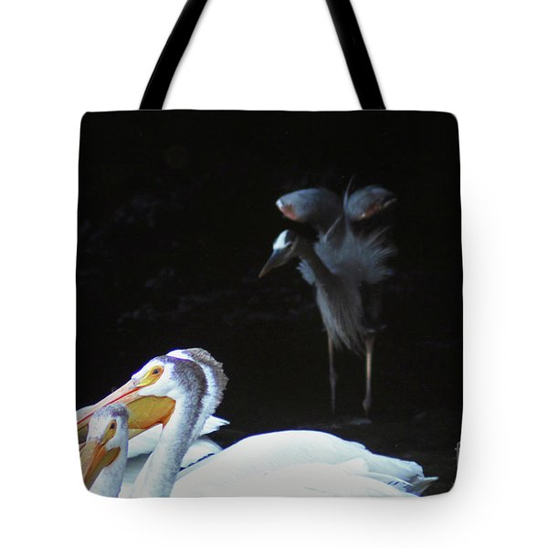 Great Blue Heron Warning Young Pelicans Tote Bag