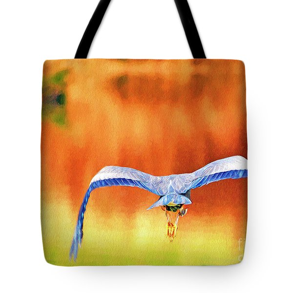 Tote Bag featuring the digital art Great Blue Heron Winging It Photo Art by Sharon Talson