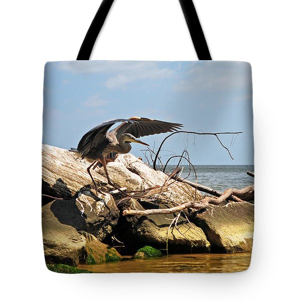 Great Blue Heron Wings Outstretched Tote Bag by Rebecca Sherman