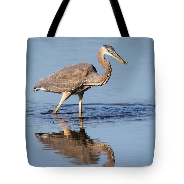 Tote Bag featuring the photograph Great Blue Heron With A Small Meal by Ricky L Jones