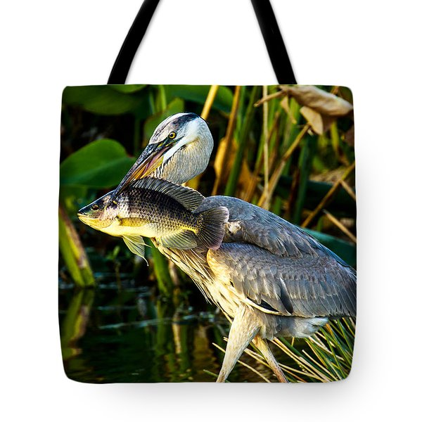 Great Blue Heron With Fish Tote Bag