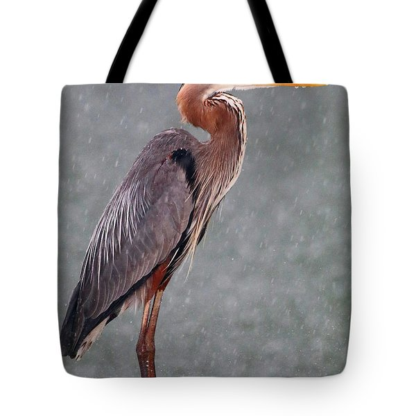 Great Blue In The Rain Tote Bag