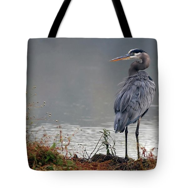 Great Blue Heron Landscape Tote Bag