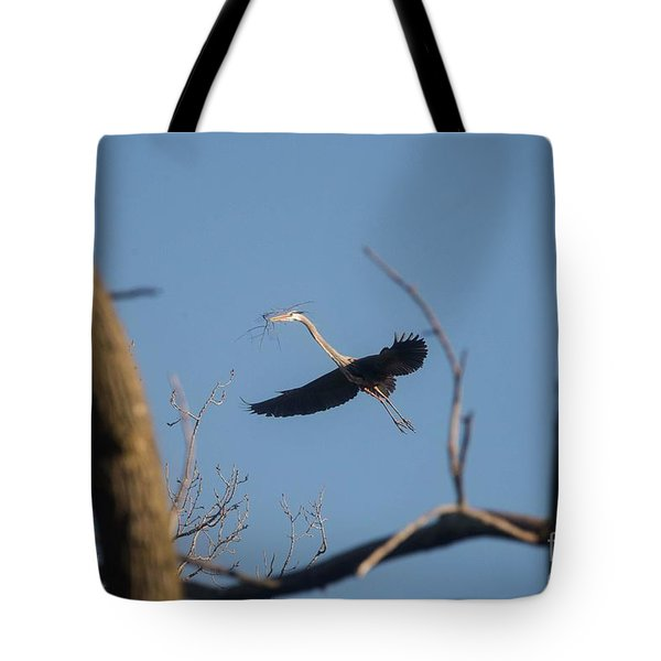 Tote Bag featuring the photograph Great Blues Nesting by David Bearden