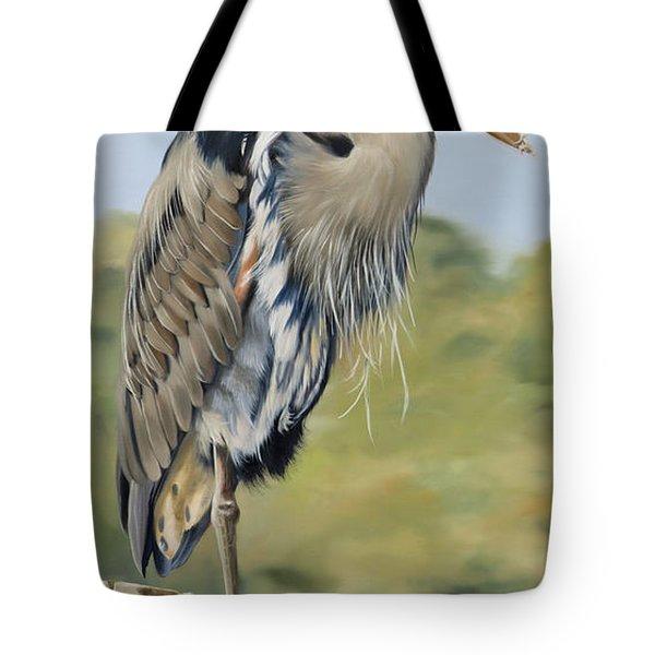 Great Blue Heron Standing Tote Bag