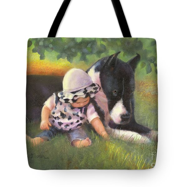 Tote Bag featuring the painting Great Dane With Baby by Nancy Lee Moran