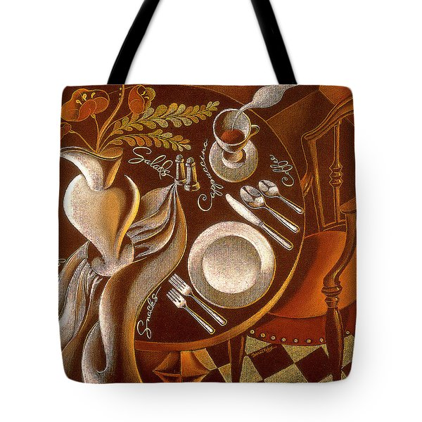 Tote Bag featuring the painting Great Dining by Leon Zernitsky