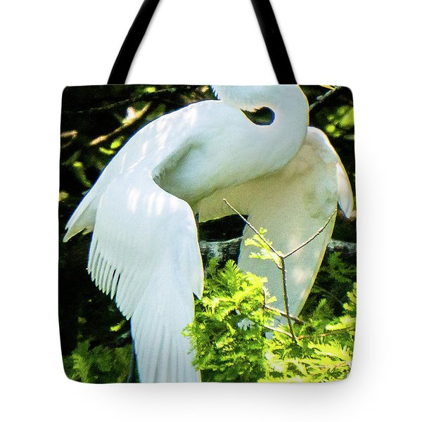 Great Egret Stretching Tote Bag