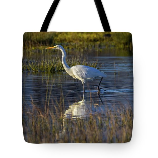 Great Egret, Ardea Alba, In A Pond Tote Bag by Elenarts - Elena Duvernay photo